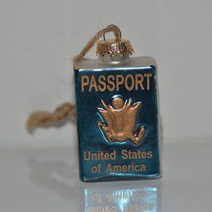 Pottery Barn USA Blue Passport Ornament